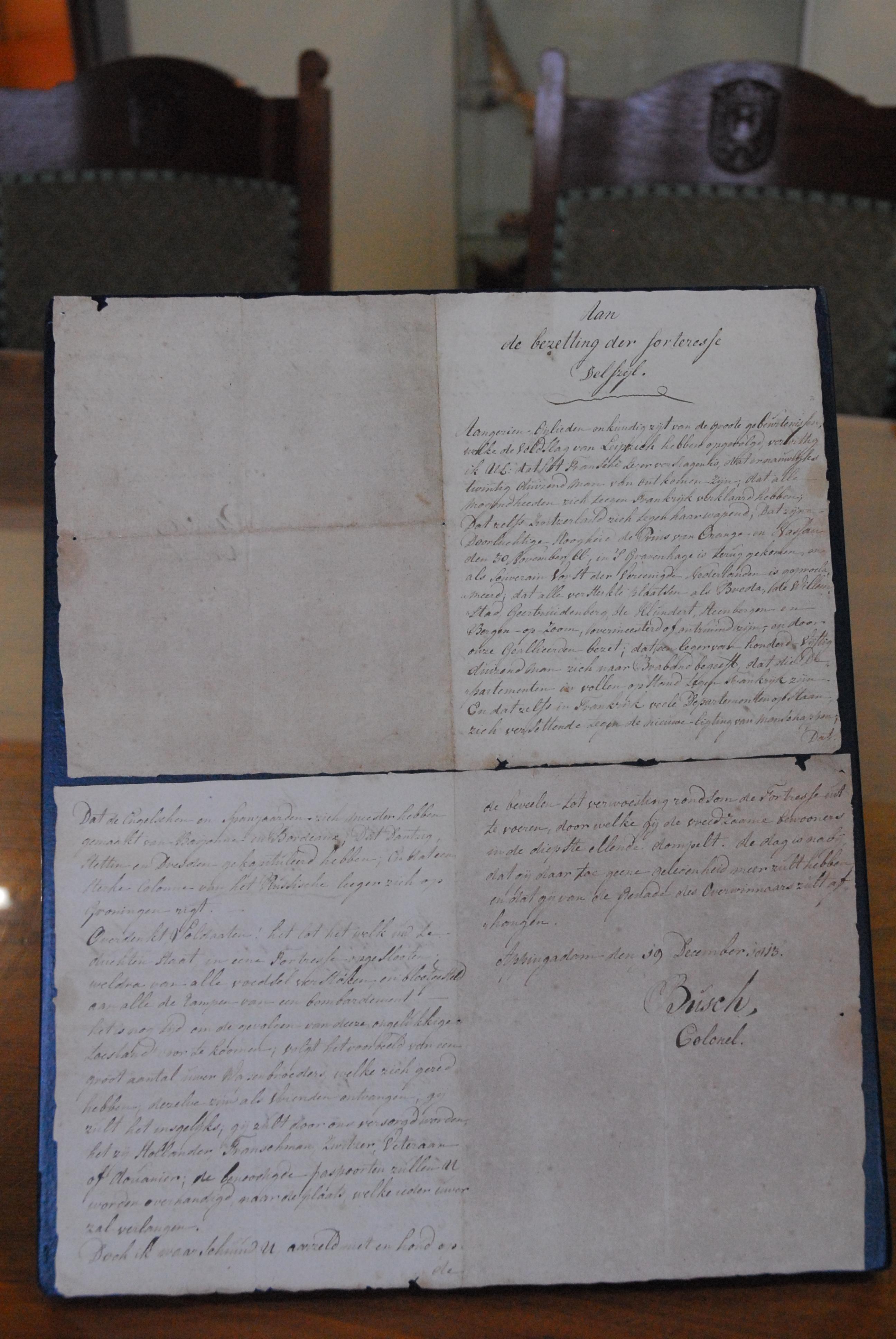 brief van 1813 van kolonel Marcus Busch an de Franse bezetter