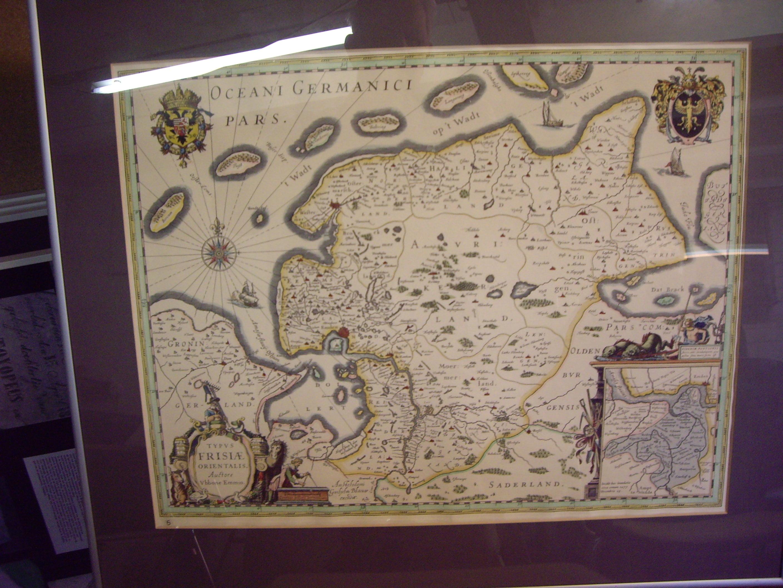 kaart, Oost Friesland, Oceani Germorici, gekleurd