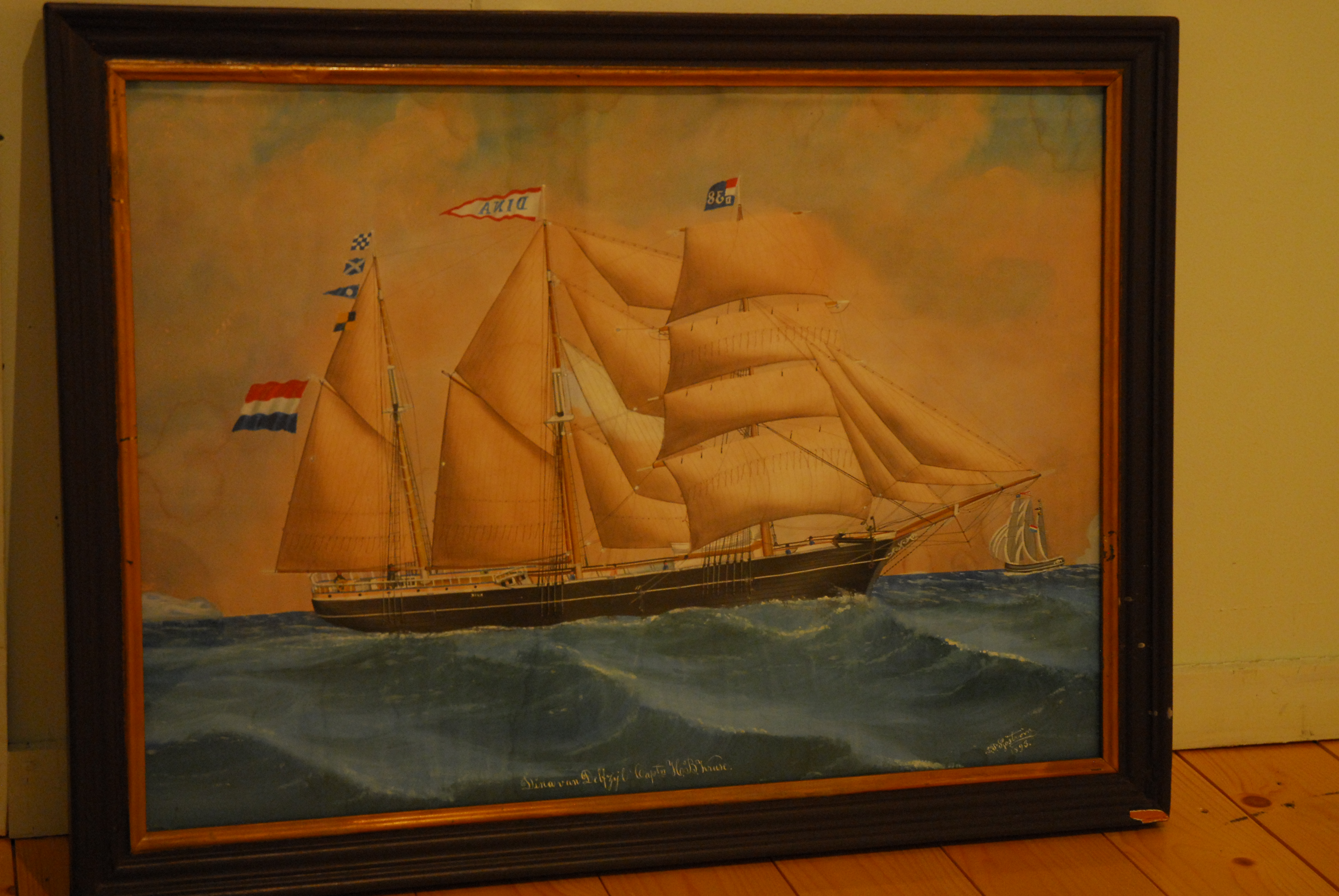 schilderij schoenerbark 'Dina van Delfzijl, kapt. H.B. Kruse