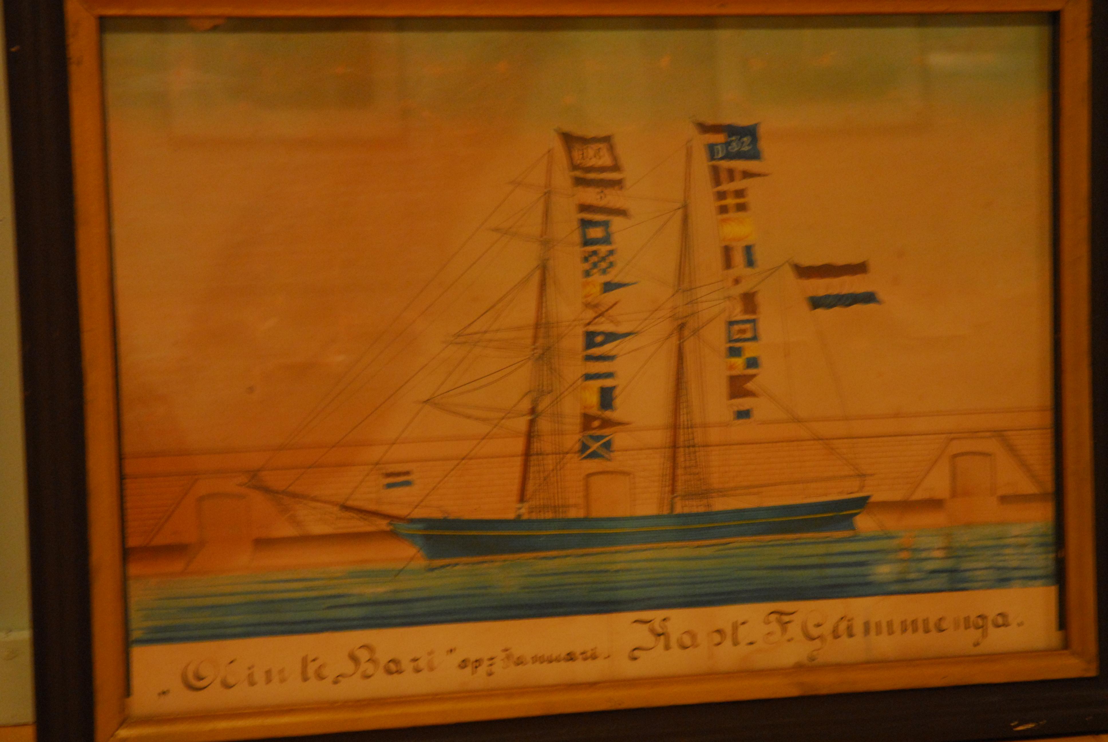 aquarel schoenerbrik Odin te Bari, kapt. F. Glimmenga