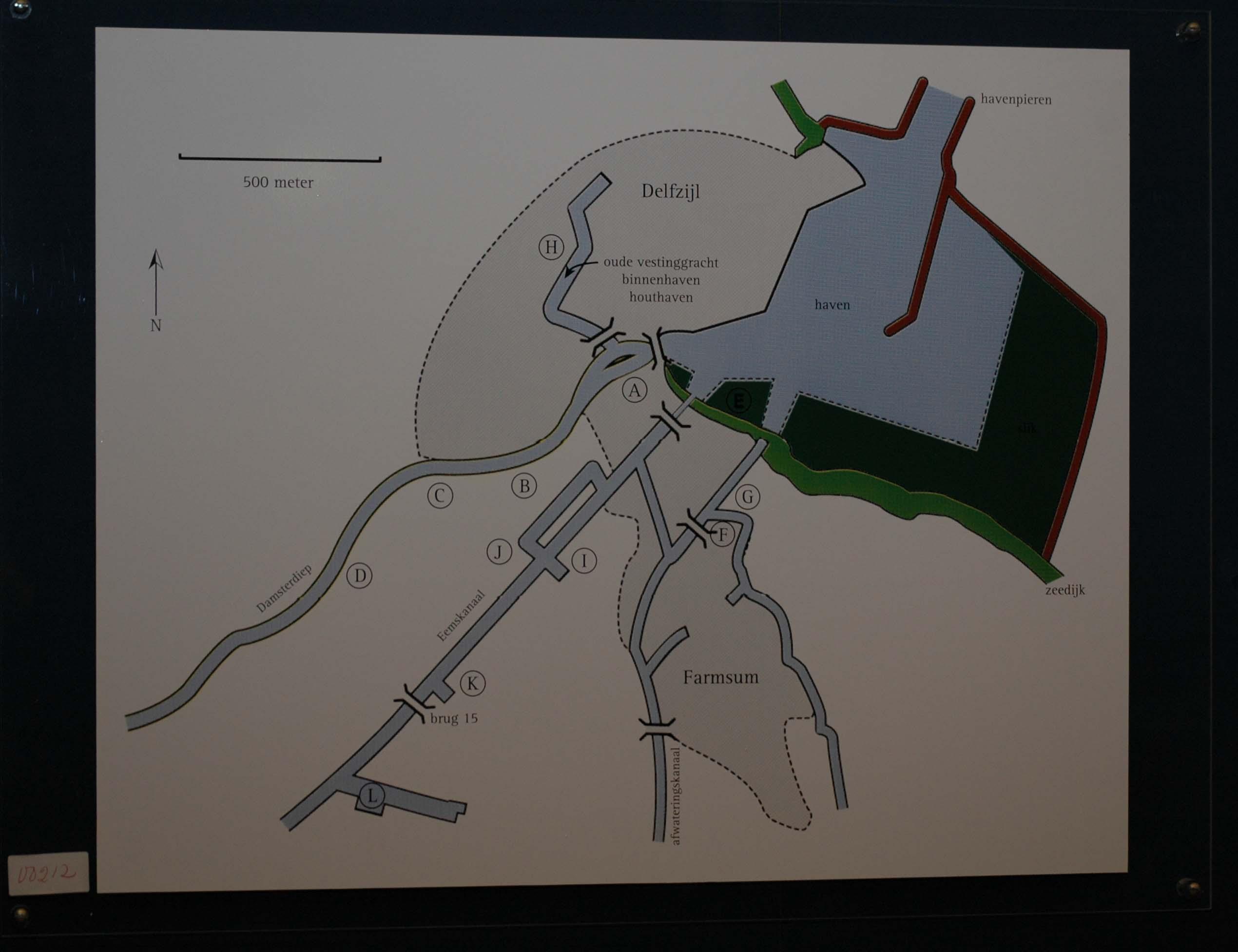 overzicht van de locatie van de werven in Delfzijl